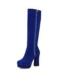 cheap -Women's Boots Velvet Boots Chunky Heel / Platform Round Toe Rivet / Zipper Fleece Fashion Boots Walking Shoes Winter Black / Red / Blue / Wedding / Party & Evening