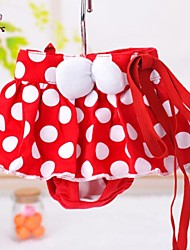 cheap -Cat / Dog Pants Red Dog Clothes Spring/Fall Polka Dots Wedding / Cosplay