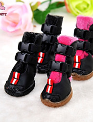 cheap -Cat Dog Boots / Shoes Dog Clothes Pink PU Leather Polar Fleece Costume For Winter Cosplay Wedding