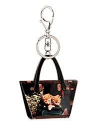 cheap -Vintage Country Style Cat Print Acrylic Bag Shape Keychain Best Gift for Girlfriend Women Favorite