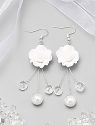 cheap -White Crystal Flower Earrings Jewelry White For