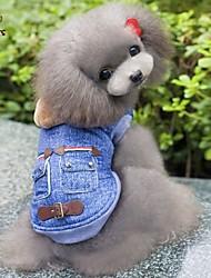cheap -Dog Hoodie Denim Jacket / Jeans Jacket Winter Dog Clothes Blue Costume Cotton Jeans Cowboy Fashion S M L XL XXL