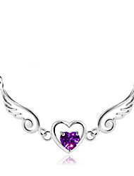 cheap -Women's Amethyst Pendant Necklace Solitaire Wings Heart Love Claddagh Ladies Bridal bridesmaid Sterling Silver White Purple Necklace Jewelry For Wedding Party Gift Daily Casual