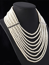 cheap -Women's Pearl Statement Necklace Long Necklace Layered Ladies Luxury Elegant Multi Layer Pearl White Necklace Jewelry For Wedding Party Anniversary Congratulations Cosplay Costumes / Pearl Necklace