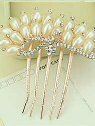 cheap -South Korea High-Grade Ornaments in Combs Hair Clasp Diamond Pearl Twist  The  Peacock Shows Its Tail