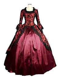 cheap -Rococo Victorian Medieval 18th Century Square Neck Dress Party Costume Masquerade Ball Gown Women's Lace Lace Satin Costume Emerald Green / Fuchsia Vintage Cosplay Party Prom Long Sleeve Floor Length