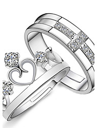 cheap -Couple Rings Crystal Silver Sterling Silver Crystal Rhinestone Cross Heart Crown Ladies Fashion 2pcs M / Women's