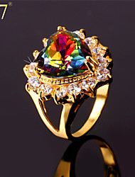 cheap -Women's Band Ring Statement Ring Opal AAA Cubic Zirconia Gold Brass Zircon Cubic Zirconia Ladies Vintage Party Wedding Party Jewelry Solitaire Simulated Heart Love Cute