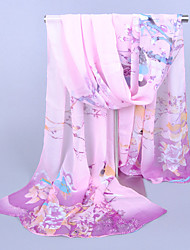 cheap -Women's Party / Work Chiffon Rectangle Scarf - Floral Print / Blue / Purple / Gray / Pink