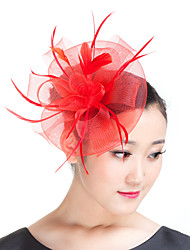 cheap -Feather / Polyester Fascinators / Headwear with Floral 1pc Wedding / Special Occasion / Casual Headpiece