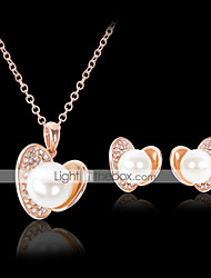 cheap -Lucky Doll Women's All Matching Silver Plated Man Made Pearl Necklace & Earrings Jewelry Sets