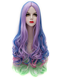 cheap -eye catching colorful mixed purple blue green long wavy u part harajuku purecas vogue cosplay party women synthetic wig Halloween