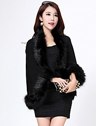 cheap -Long Sleeve Capelets Faux Fur / Imitation Cashmere Wedding Wedding  Wraps / Fur Coats / Hoods & Ponchos With Feathers / Fur