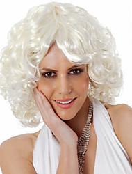 cheap -Synthetic Wig Curly Curly Asymmetrical Wig Short White Synthetic Hair Women's Natural Hairline Middle Part White
