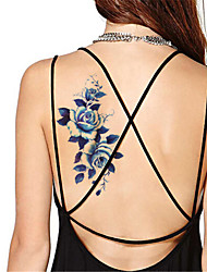 cheap -5pcs set waterproof blue peony temporary tattoo sticker flash tattoos