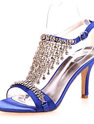 abordables -Femme Chaussures à Talons Talon Aiguille Satin Confort Printemps / Eté Rouge / Bleu / Ivoire / Mariage / Soirée & Evénement / EU42