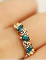 cheap -Women's Statement Ring Crystal Synthetic Emerald Golden Rhinestone Imitation Diamond Alloy Ladies Classic Daily Casual Jewelry Cluster Past Present Future Aquarius
