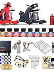 cheap -Tattoo Machine Starter Kit - 2 pcs Tattoo Machines with 10 x 5 ml tattoo inks, Professional LCD power supply Case Not Included 2 cast iron machine liner & shader