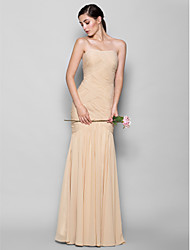 cheap -Fit & Flare Sweetheart Neckline Floor Length Chiffon Bridesmaid Dress with Criss Cross / Open Back