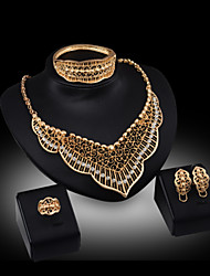 cheap -Lucky Doll Women's All Matching Luxury Gem 18K Gold Plated Necklace & Earrings & Bracelet & Ring Jewelry Sets