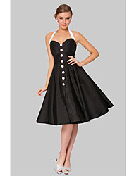 cheap -A-Line Cocktail Party Dress Halter Neck Knee Length Taffeta with 2021