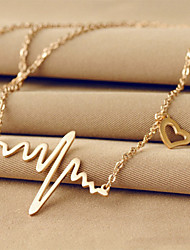 cheap -Women's Pendant Necklace Name Heart Love heartbeat Dainty Ladies Unique Design Basic 18K Gold Plated Titanium Steel Silver Rose Pink Necklace Jewelry For Wedding Party Daily Casual