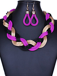 cheap -Jewelry Set Hoop Earrings Braided Twisted Chinese Knot Ladies Vintage Party Work Casual Bohemian Earrings Jewelry Purple For Party Special Occasion Anniversary Birthday Gift 1 set / Necklace