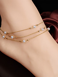 cheap -Women's Pearl Anklet Layered Beads Stacking Stackable Dainty Ladies Vintage Party Work Pearl Anklet Jewelry Screen Color For Daily