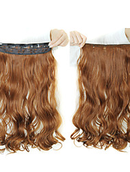 cheap -24 inch 120g long heat resistant synthetic fiber curly 5 clip in hair extensions