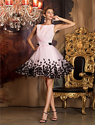 cheap -A-Line Color Block Pink Homecoming Cocktail Party Dress Boat Neck Sleeveless Short / Mini Chiffon Tulle with Sash / Ribbon Pattern / Print Appliques 2020