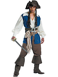 cheap -Pirate Cosplay Costume Men's Halloween Carnival Festival / Holiday Spandex Lycra Terylene Men's Carnival Costumes / Cotton / Top / Hat