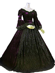 cheap -Gothic Lolita Rococo Baroque Dress Women's Girls' Lace Party Prom Lace Japanese Cosplay Costumes Plus Size Customized Dark Purple Ball Gown Solid Colored Long Sleeve Long Length / Victorian