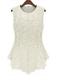cheap -Women's Daily Weekend Plus Size Tank Top - Solid Colored Lace White XXXL / Summer / Sexy