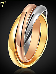cheap -Women's Ring Rainbow Stainless Steel Gold Plated Rose Gold Plated Ladies Unusual Unique Design Wedding Daily Jewelry Stack Two tone Russian Wedding Ring