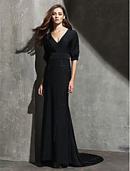 cheap -Sheath / Column Celebrity Style Holiday Cocktail Party Formal Evening Dress V Neck Half Sleeve Sweep / Brush Train Knit with Pleats 2021