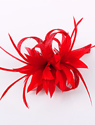 cheap -Flax Feather Fascinators Headwear with Floral 1pc Wedding Special Occasion Casual Outdoor Headpiece