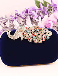 abordables -Femme Cristal / strass Daim / Métal Pochette Sacs de soirée en cristal strass Rouge / Bleu / Bleu Roi