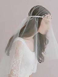 cheap -One-tier Cut Edge Wedding Veil Elbow Veils with Rhinestone 27.56 in (70cm) Tulle / Angel cut / Waterfall