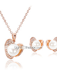 cheap -Pearl Jewelry Set Pendant Necklace Love Ladies Luxury Party Fashion Pearl Cubic Zirconia Rose Gold Plated Earrings Jewelry Gold For Party Special Occasion Anniversary Birthday Gift