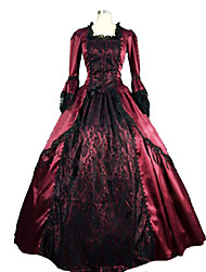 cheap -Victorian Medieval 18th Century Dress Party Costume Masquerade Women's Lace Satin Costume Fuchsia Vintage Cosplay Party Prom Long Sleeve Long Length Ball Gown Plus Size Customized