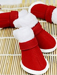 cheap -Cat / Dog Boots / Shoes Christmas / New Year's Red For Pets
