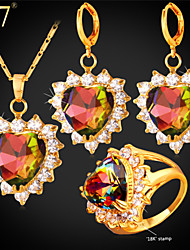 cheap -Women's AAA Cubic Zirconia Jewelry Set Solitaire Heart Love Ladies Colorful Crystal Zircon Cubic Zirconia Earrings Jewelry Gold For Wedding Party Daily 3pcs / Gold Plated