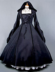 cheap -Steampunk® Gothic Lolita Dress Women's Girls' Cotton Party Prom Japanese Cosplay Costumes Plus Size Customized Black Ball Gown Vintage Poet Sleeve Long Sleeve Long Length