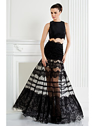 cheap -Two Piece A-Line Two Piece See Through Holiday Homecoming Cocktail Party Dress Jewel Neck Sleeveless Floor Length Lace Satin with Lace Beading Appliques 2020 / Prom / Formal Evening