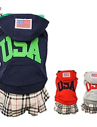 cheap -Cat Dog Coat Hoodie Dress Winter Dog Clothes Red Dark Blue Gray Costume Polar Fleece Cotton Plaid / Check Letter & Number Cosplay Wedding S M L XL
