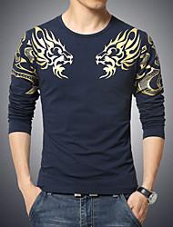 cheap -Men's Daily Sports Boho Plus Size Cotton T-shirt Print White / Long Sleeve
