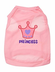 cheap -Cat Dog Shirt / T-Shirt Tiaras & Crowns Fashion Dog Clothes Purple Pink Rose Costume Terylene XS S M L