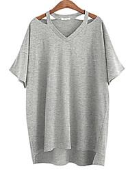 cheap -Women's Daily Weekend Plus Size Batwing Sleeve Cotton Loose T-shirt - Solid Colored Split V Neck White / Summer / Cut Out