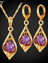 cheap -Women's AAA Cubic Zirconia Amethyst Jewelry Set Solitaire Round Cut Ladies Zircon Cubic Zirconia Earrings Jewelry Gold / Silver For Party Daily