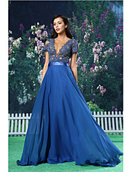 cheap -A-Line Jewel Neck Floor Length Chiffon / Lace / Satin Dress with Sash / Ribbon / Lace Insert by TS Couture®